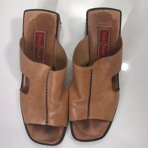 COLE HAAN Tan Leather Slides Sandals Shoes Size 6B